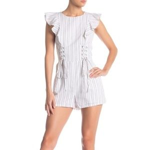 J.O.A. Striped Lace-Up Romper